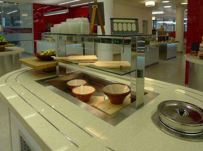 Refrigerated salad well and soup station