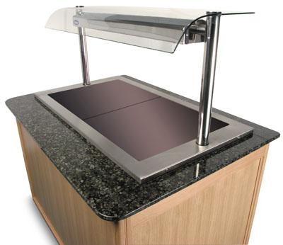 Impression heated glass top unit granite top and real wood panels