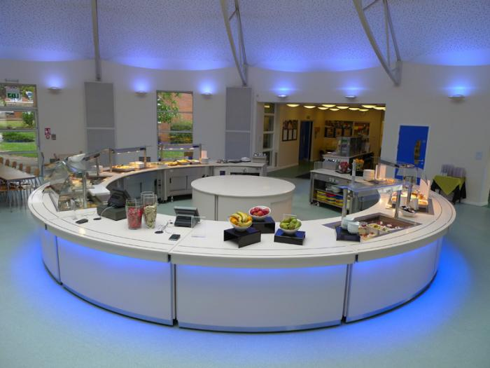 Ambient section school meals servery counter
