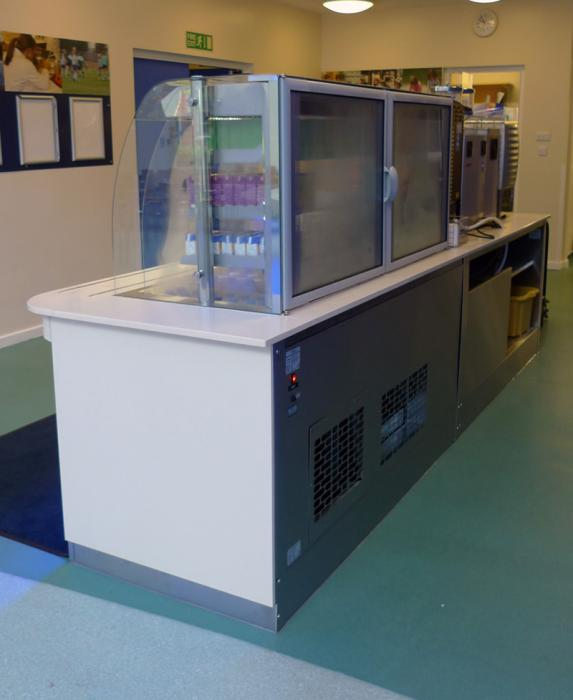 Refrigerated multi-tier school meal counter