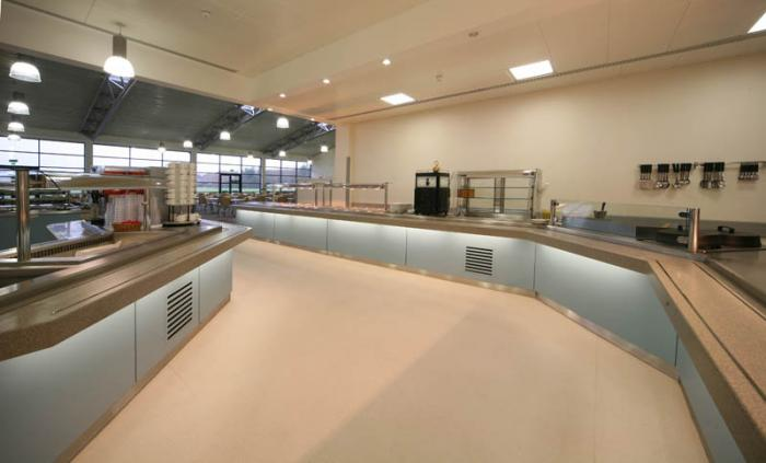 Servery counter with chef's theatre