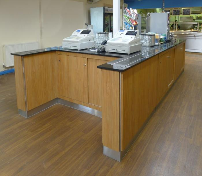 Granite topped cashier desks